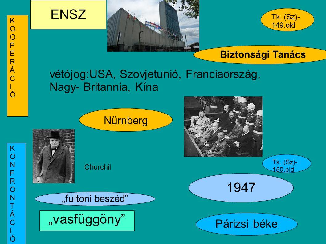 """ENSZ Nürnberg Biztonsági Tanács vétójog:USA, Szovjetunió, Franciaország, Nagy- Britannia, Kína 1947 """"fultoni beszéd"""" Tk. (Sz)- 149.old Párizsi béke Tk"""