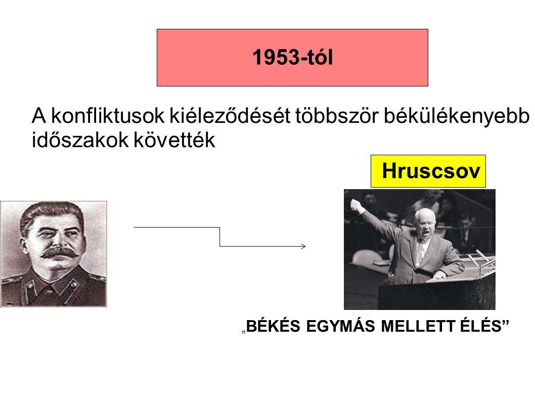 """Hruscsov 1953-tól """" BÉKÉS EGYMÁS MELLETT ÉLÉS"""" A konfliktusok kiéleződését többször békülékenyebb időszakok követték"""