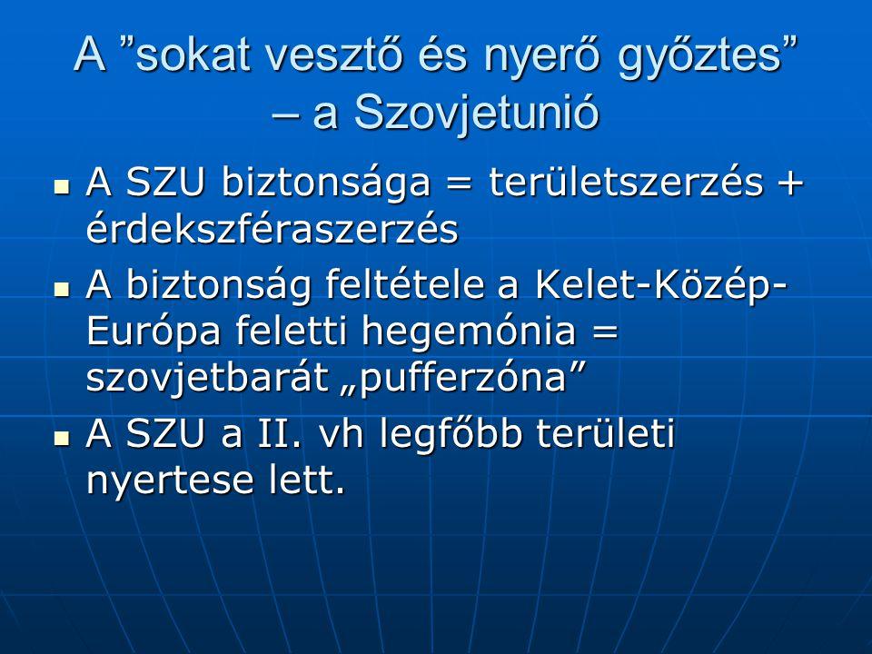 """A sokat vesztő és nyerő győztes – a Szovjetunió A SZU biztonsága = területszerzés + érdekszféraszerzés A SZU biztonsága = területszerzés + érdekszféraszerzés A biztonság feltétele a Kelet-Közép- Európa feletti hegemónia = szovjetbarát """"pufferzóna A biztonság feltétele a Kelet-Közép- Európa feletti hegemónia = szovjetbarát """"pufferzóna A SZU a II."""