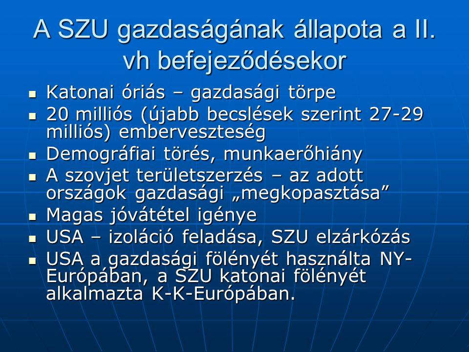 A SZU gazdaságának állapota a II.