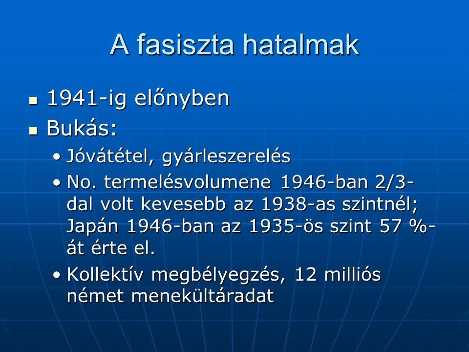 A fasiszta hatalmak 1941-ig előnyben 1941-ig előnyben Bukás: Bukás: Jóvátétel, gyárleszerelésJóvátétel, gyárleszerelés No.