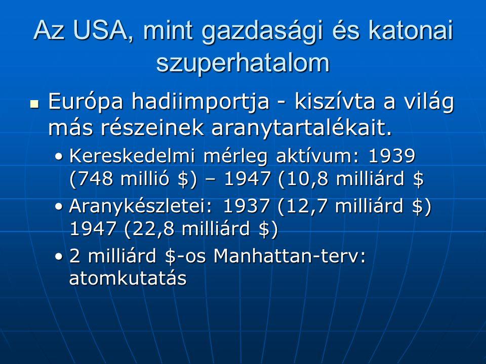 Az USA, mint gazdasági és katonai szuperhatalom Európa hadiimportja - kiszívta a világ más részeinek aranytartalékait.