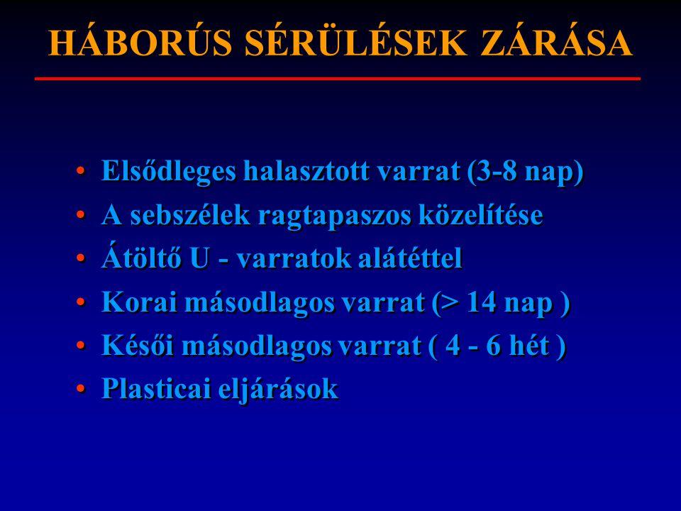 HÁBORÚS SÉRÜLÉSEK ZÁRÁSA Elsődleges halasztott varrat (3-8 nap) A sebszélek ragtapaszos közelítése Átöltő U - varratok alátéttel Korai másodlagos varrat (> 14 nap ) Késői másodlagos varrat ( 4 - 6 hét ) Plasticai eljárások Elsődleges halasztott varrat (3-8 nap) A sebszélek ragtapaszos közelítése Átöltő U - varratok alátéttel Korai másodlagos varrat (> 14 nap ) Késői másodlagos varrat ( 4 - 6 hét ) Plasticai eljárások