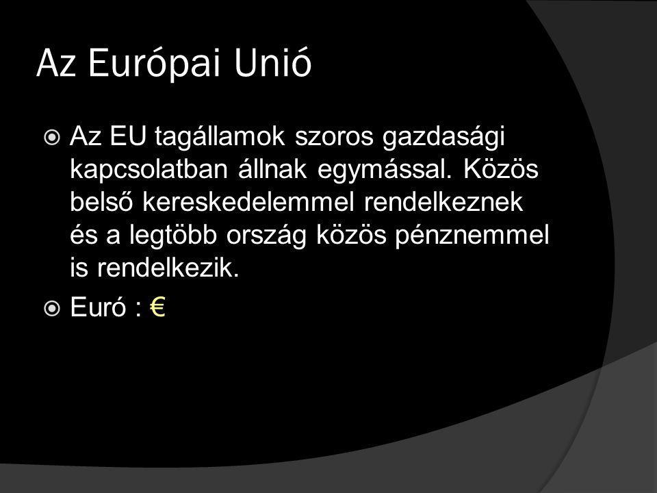 Az Európai Unió  Az EU tagállamok szoros gazdasági kapcsolatban állnak egymással. Közös belső kereskedelemmel rendelkeznek és a legtöbb ország közös