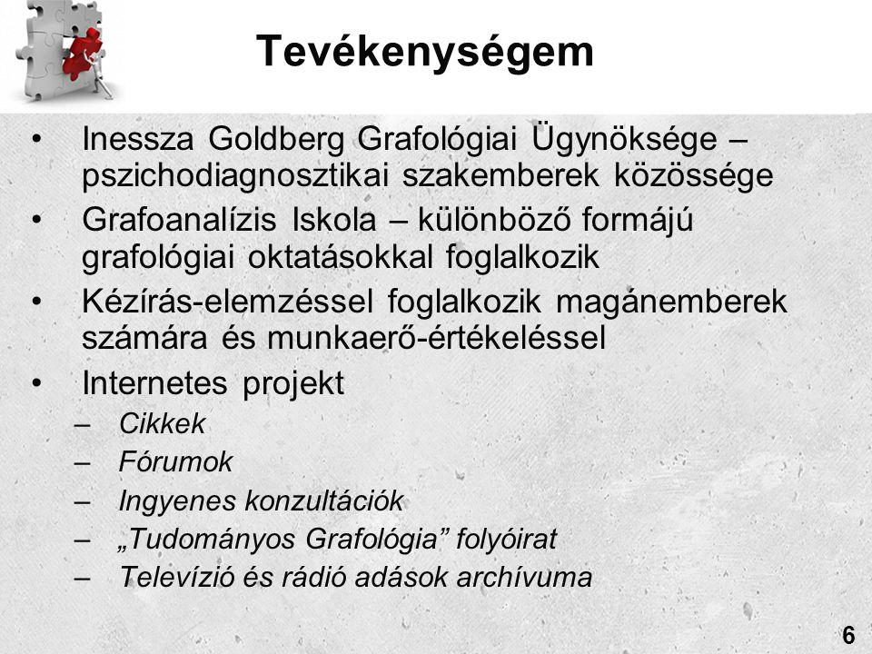 """Tevékenységem Inessza Goldberg Grafológiai Ügynöksége – pszichodiagnosztikai szakemberek közössége Grafoanalízis Iskola – különböző formájú grafológiai oktatásokkal foglalkozik Kézírás-elemzéssel foglalkozik magánemberek számára és munkaerő-értékeléssel Internetes projekt –Cikkek –Fórumok –Ingyenes konzultációk –""""Tudományos Grafológia folyóirat –Televízió és rádió adások archívuma 6"""