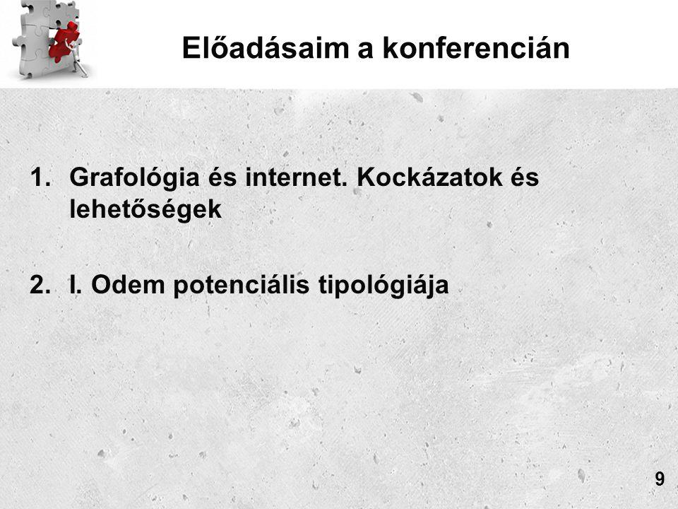 Előadásaim a konferencián 1.Grafológia és internet.