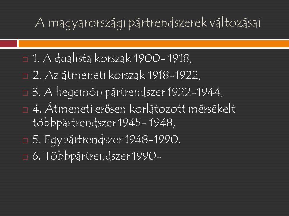 A magyarországi pártrendszerek változásai  1. A dualista korszak 1900- 1918,  2. Az átmeneti korszak 1918-1922,  3. A hegemón pártrendszer 1922-194