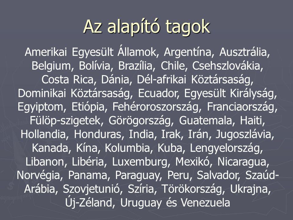 Az alapító tagok Amerikai Egyesült Államok, Argentína, Ausztrália, Belgium, Bolívia, Brazília, Chile, Csehszlovákia, Costa Rica, Dánia, Dél-afrikai Köztársaság, Dominikai Köztársaság, Ecuador, Egyesült Királyság, Egyiptom, Etiópia, Fehéroroszország, Franciaország, Fülöp-szigetek, Görögország, Guatemala, Haiti, Hollandia, Honduras, India, Irak, Irán, Jugoszlávia, Kanada, Kína, Kolumbia, Kuba, Lengyelország, Libanon, Libéria, Luxemburg, Mexikó, Nicaragua, Norvégia, Panama, Paraguay, Peru, Salvador, Szaúd- Arábia, Szovjetunió, Szíria, Törökország, Ukrajna, Új-Zéland, Uruguay és Venezuela