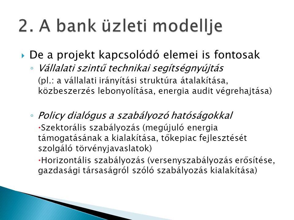  De a projekt kapcsolódó elemei is fontosak ◦ Vállalati szintű technikai segítségnyújtás (pl.: a vállalati irányítási struktúra átalakítása, közbeszerzés lebonyolítása, energia audit végrehajtása) ◦ Policy dialógus a szabályozó hatóságokkal  Szektorális szabályozás (megújuló energia támogatásának a kialakítása, tőkepiac fejlesztését szolgáló törvényjavaslatok)  Horizontális szabályozás (versenyszabályozás erősítése, gazdasági társaságról szóló szabályozás kialakítása)