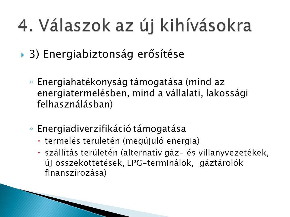  3) Energiabiztonság erősítése ◦ Energiahatékonyság támogatása (mind az energiatermelésben, mind a vállalati, lakossági felhasználásban) ◦ Energiadiverzifikáció támogatása  termelés területén (megújuló energia)  szállítás területén (alternatív gáz- és villanyvezetékek, új összeköttetések, LPG-terminálok, gáztárolók finanszírozása)