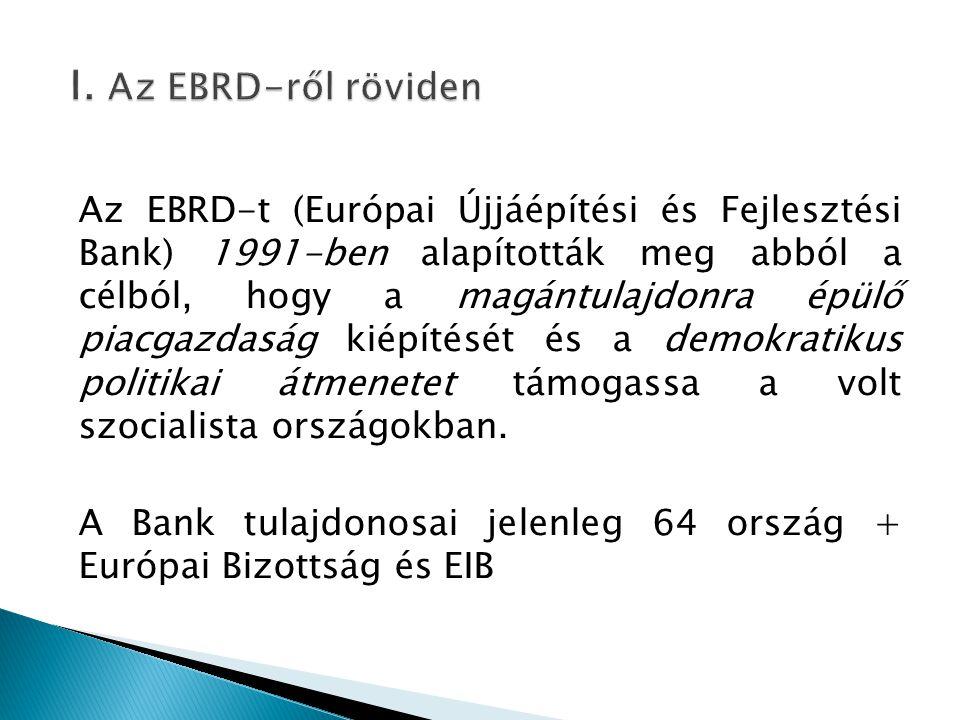 Az EBRD-t (Európai Újjáépítési és Fejlesztési Bank) 1991-ben alapították meg abból a célból, hogy a magántulajdonra épülő piacgazdaság kiépítését és a demokratikus politikai átmenetet támogassa a volt szocialista országokban.