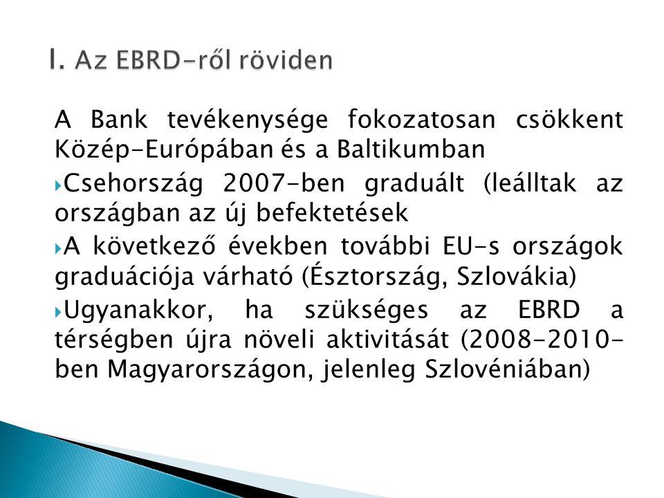 A Bank tevékenysége fokozatosan csökkent Közép-Európában és a Baltikumban  Csehország 2007-ben graduált (leálltak az országban az új befektetések  A következő években további EU-s országok graduációja várható (Észtország, Szlovákia)  Ugyanakkor, ha szükséges az EBRD a térségben újra növeli aktivitását (2008-2010- ben Magyarországon, jelenleg Szlovéniában)