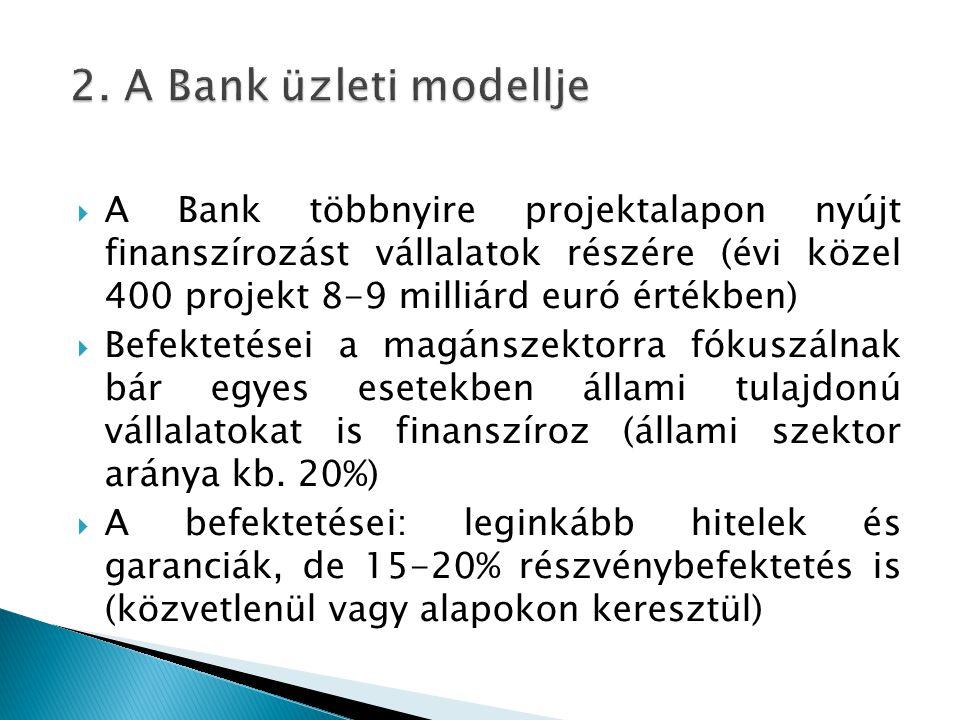  A Bank többnyire projektalapon nyújt finanszírozást vállalatok részére (évi közel 400 projekt 8-9 milliárd euró értékben)  Befektetései a magánszektorra fókuszálnak bár egyes esetekben állami tulajdonú vállalatokat is finanszíroz (állami szektor aránya kb.
