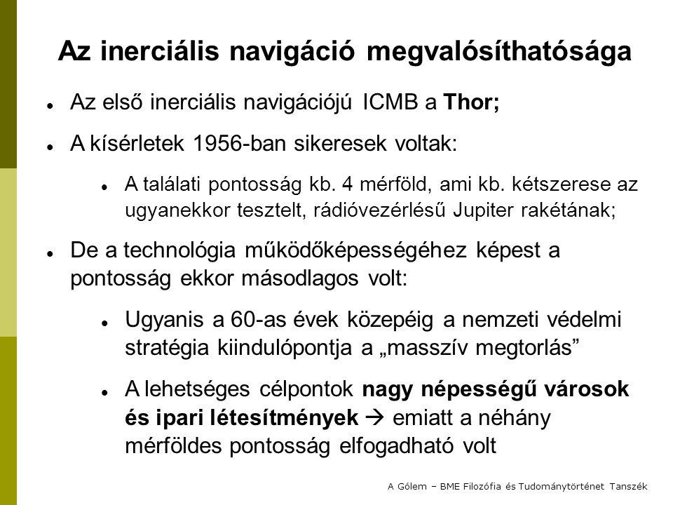 Az első inerciális navigációjú ICMB a Thor; A kísérletek 1956-ban sikeresek voltak: A találati pontosság kb.