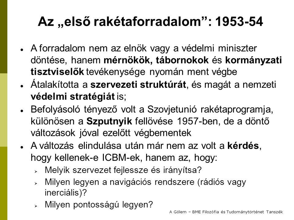 A forradalom nem az elnök vagy a védelmi miniszter döntése, hanem mérnökök, tábornokok és kormányzati tisztviselők tevékenysége nyomán ment végbe Átalakította a szervezeti struktúrát, és magát a nemzeti védelmi stratégiát is; Befolyásoló tényező volt a Szovjetunió rakétaprogramja, különösen a Szputnyik fellövése 1957-ben, de a döntő változások jóval ezelőtt végbementek A változás elindulása után már nem az volt a kérdés, hogy kellenek-e ICBM-ek, hanem az, hogy:  Melyik szervezet fejlessze és irányítsa.
