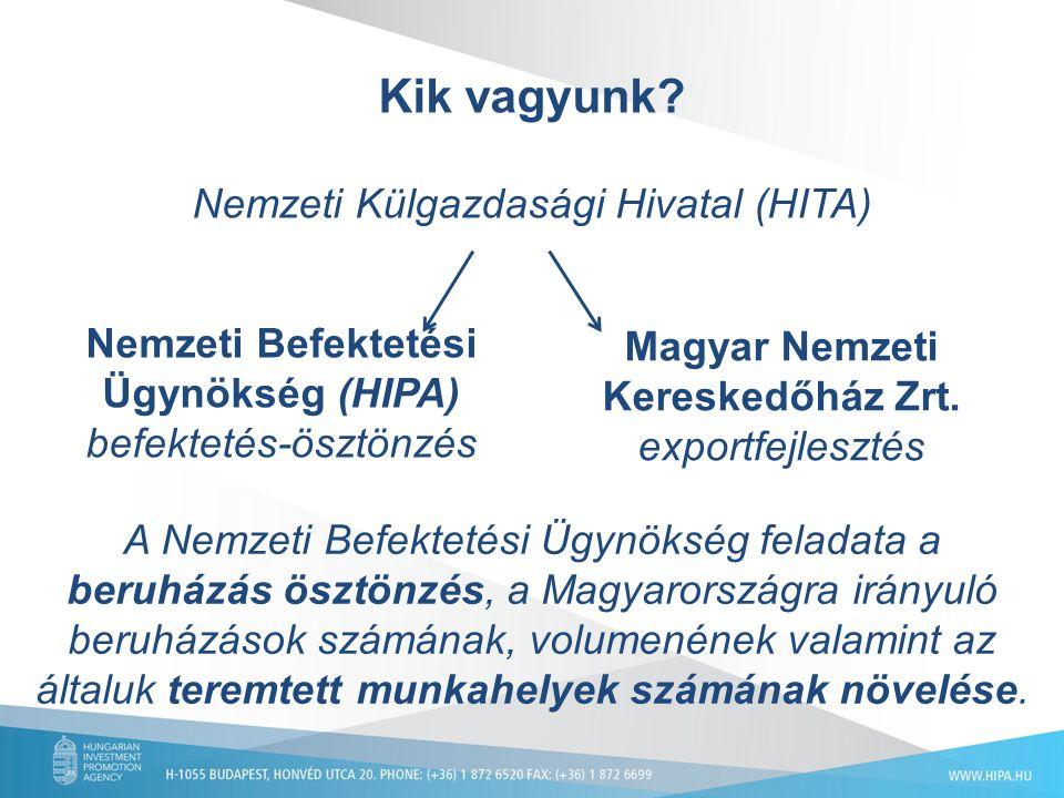 Kik vagyunk? Nemzeti Külgazdasági Hivatal (HITA) Magyar Nemzeti Kereskedőház Zrt. exportfejlesztés Nemzeti Befektetési Ügynökség (HIPA) befektetés-ösz