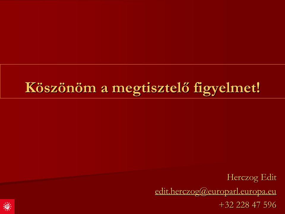 Köszönöm a megtisztelő figyelmet! Herczog Edit edit.herczog@europarl.europa.eu +32 228 47 596