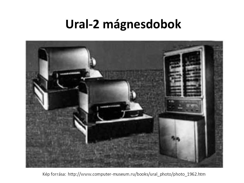 Ural-2 mágnesdobok Kép forrása: http://www.computer-museum.ru/books/ural_photo/photo_1962.htm