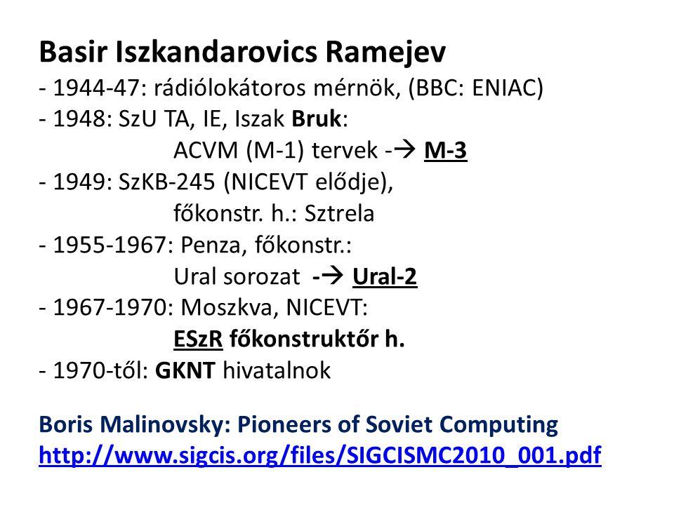 Basir Iszkandarovics Ramejev - 1944-47: rádiólokátoros mérnök, (BBC: ENIAC) - 1948: SzU TA, IE, Iszak Bruk: ACVM (M-1) tervek -  M-3 - 1949: SzKB-245