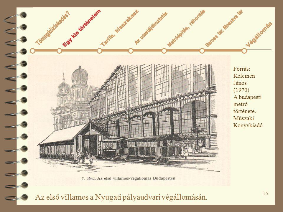 15 Az első villamos a Nyugati pályaudvari végállomásán. Forrás: Kelemen János (1970) A budapesti metró története. Műszaki Könyvkiadó