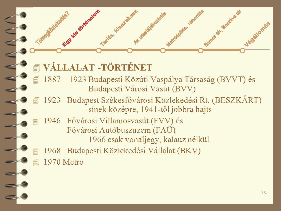 19 4 VÁLLALAT -TÖRTÉNET 4 1887 – 1923 Budapesti Közúti Vaspálya Társaság (BVVT) és Budapesti Városi Vasút (BVV) 4 1923 Budapest Székesfővárosi Közleke