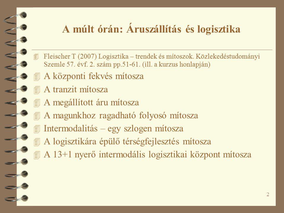 2 A múlt órán: Áruszállítás és logisztika 4 Fleischer T (2007) Logisztika – trendek és mítoszok. Közlekedéstudományi Szemle 57. évf. 2. szám pp.51-61.