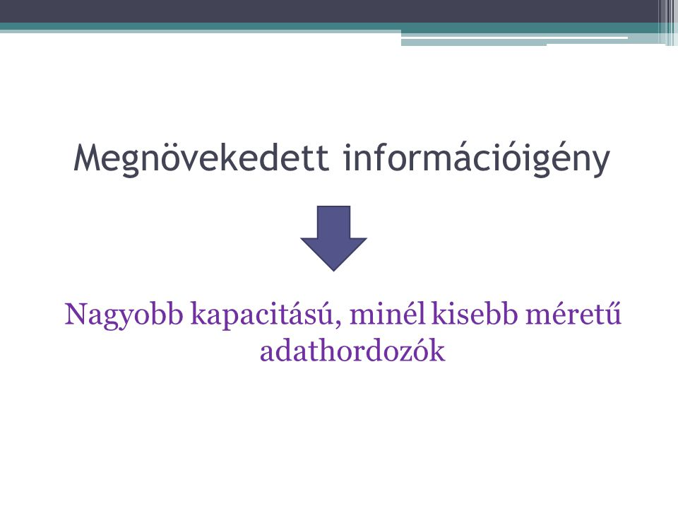 Megnövekedett információigény Nagyobb kapacitású, minél kisebb méretű adathordozók