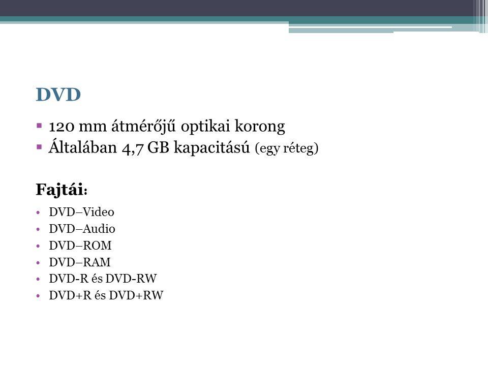 DVD  120 mm átmérőjű optikai korong  Általában 4,7 GB kapacitású (egy réteg) Fajtái : DVD–Video DVD–Audio DVD–ROM DVD–RAM DVD-R és DVD-RW DVD+R és DVD+RW