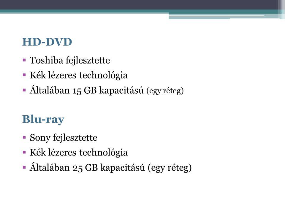 HD-DVD  Toshiba fejlesztette  Kék lézeres technológia  Általában 15 GB kapacitású (egy réteg) Blu-ray  Sony fejlesztette  Kék lézeres technológia