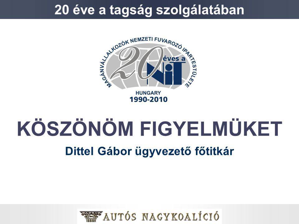 KÖSZÖNÖM FIGYELMÜKET Dittel Gábor ügyvezető főtitkár