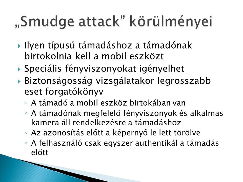  Ilyen típusú támadáshoz a támadónak birtokolnia kell a mobil eszközt  Speciális fényviszonyokat igényelhet  Biztonságosság vizsgálatakor legrosszabb eset forgatókönyv ◦ A támadó a mobil eszköz birtokában van ◦ A támadónak megfelelő fényviszonyok és alkalmas kamera áll rendelkezésre a támadáshoz ◦ Az azonosítás előtt a képernyő le lett törölve ◦ A felhasználó csak egyszer authentikál a támadás előtt