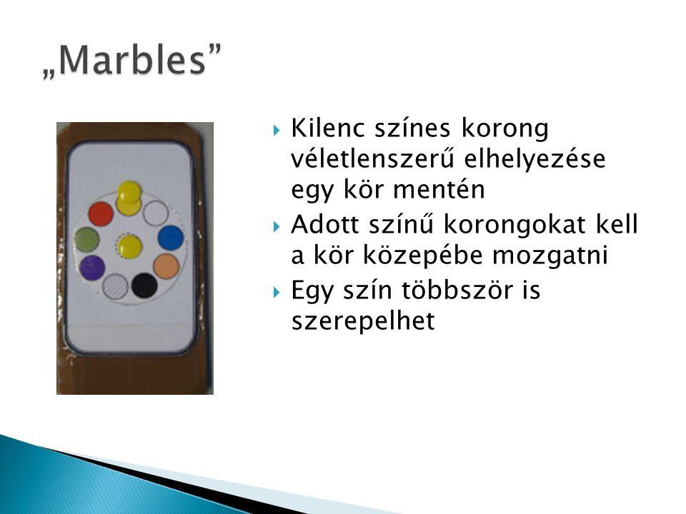  Kilenc színes korong véletlenszerű elhelyezése egy kör mentén  Adott színű korongokat kell a kör közepébe mozgatni  Egy szín többször is szerepelhet