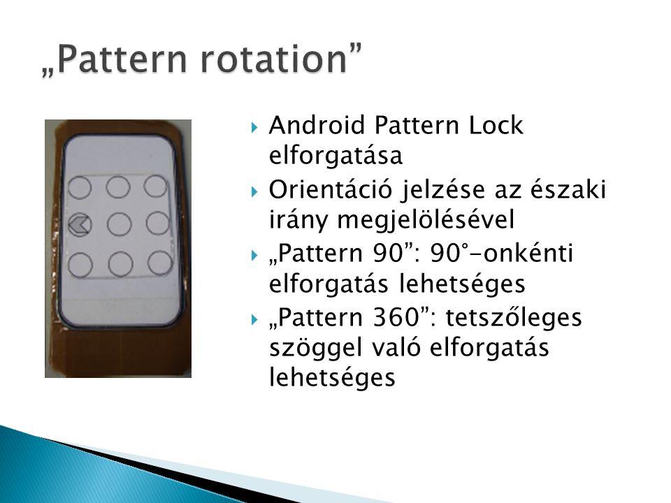 """ Android Pattern Lock elforgatása  Orientáció jelzése az északi irány megjelölésével  """"Pattern 90 : 90°-onkénti elforgatás lehetséges  """"Pattern 360 : tetszőleges szöggel való elforgatás lehetséges"""