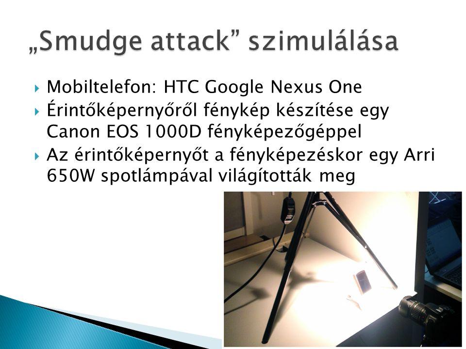  Mobiltelefon: HTC Google Nexus One  Érintőképernyőről fénykép készítése egy Canon EOS 1000D fényképezőgéppel  Az érintőképernyőt a fényképezéskor egy Arri 650W spotlámpával világították meg