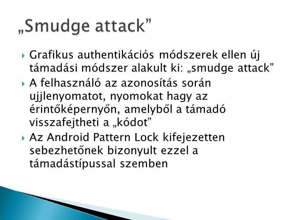 """ Grafikus authentikációs módszerek ellen új támadási módszer alakult ki: """"smudge attack  A felhasználó az azonosítás során ujjlenyomatot, nyomokat hagy az érintőképernyőn, amelyből a támadó visszafejtheti a """"kódot  Az Android Pattern Lock kifejezetten sebezhetőnek bizonyult ezzel a támadástípussal szemben"""