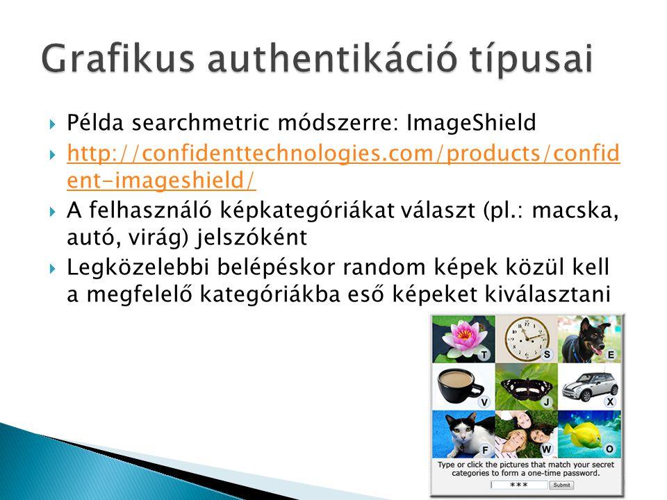 Példa searchmetric módszerre: ImageShield  http://confidenttechnologies.com/products/confid ent-imageshield/ http://confidenttechnologies.com/products/confid ent-imageshield/  A felhasználó képkategóriákat választ (pl.: macska, autó, virág) jelszóként  Legközelebbi belépéskor random képek közül kell a megfelelő kategóriákba eső képeket kiválasztani