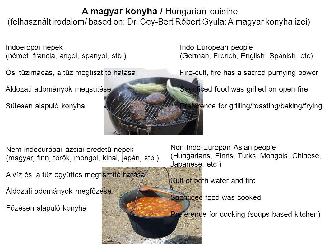 A magyar konyha / Hungarian cuisine (felhasznált irodalom/ based on: Dr. Cey-Bert Róbert Gyula: A magyar konyha ízei) Indo-European people (German, Fr