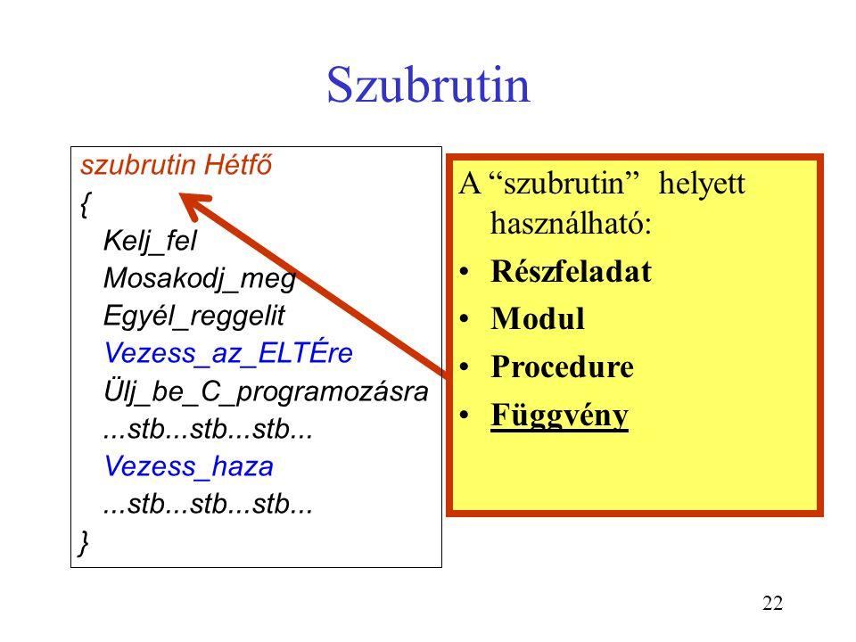"""22 Szubrutin A """"szubrutin"""" helyett használható: Részfeladat Modul Procedure Függvény szubrutin Hétfő { Kelj_fel Mosakodj_meg Egyél_reggelit Vezess_az_"""