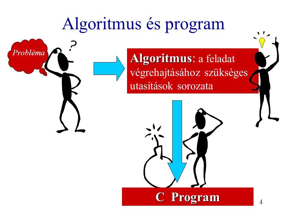 4 Algoritmus és program Probléma C Program Algoritmus Algoritmus: a feladat végrehajtásához szükséges utasítások sorozata