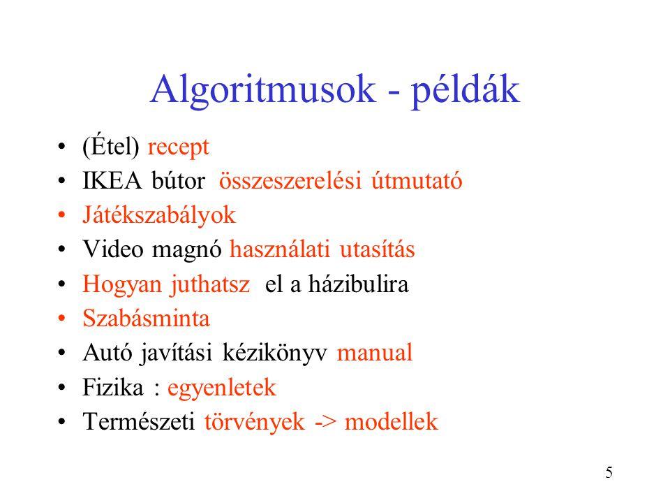 26 Az algoritmusok részei Változók és értékeik Utasítások, műveletek (primitív) Utsasítások sorozata Részfeladatok, szubrutinok (utasításokból állnak) Elágazások (különböző utasítások felé) Ismétlések (részfeladat) Dokumentáció (független az utasításoktól)