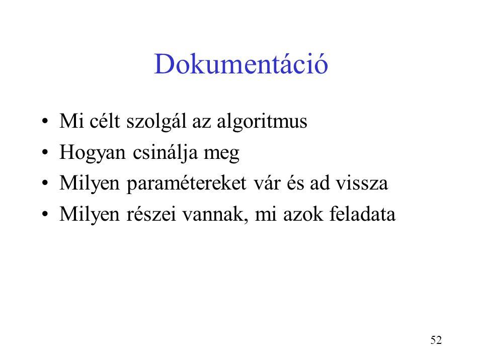 52 Dokumentáció Mi célt szolgál az algoritmus Hogyan csinálja meg Milyen paramétereket vár és ad vissza Milyen részei vannak, mi azok feladata