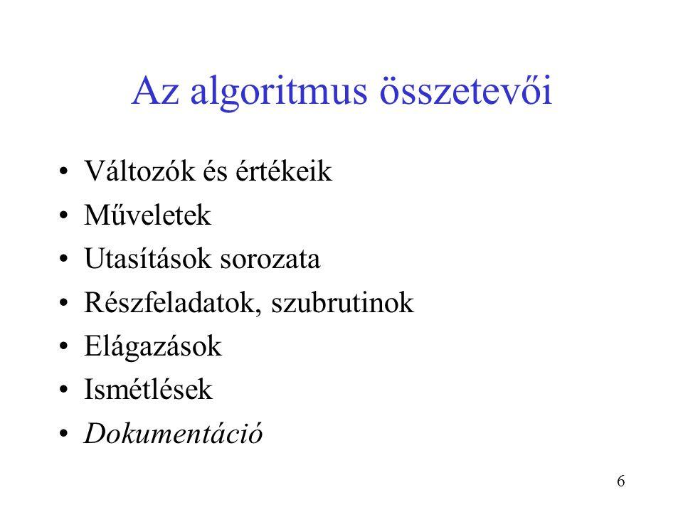 6 Az algoritmus összetevői Változók és értékeik Műveletek Utasítások sorozata Részfeladatok, szubrutinok Elágazások Ismétlések Dokumentáció