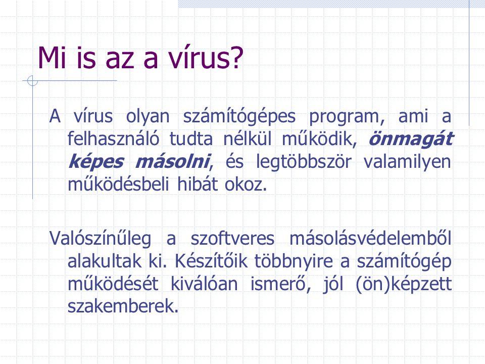 Mi is az a vírus? A vírus olyan számítógépes program, ami a felhasználó tudta nélkül működik, önmagát képes másolni, és legtöbbször valamilyen működés