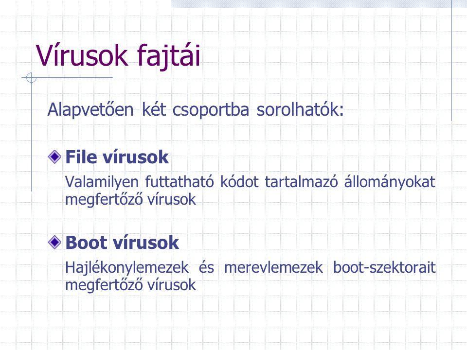 Vírusok fajtái Alapvetően két csoportba sorolhatók: File vírusok Valamilyen futtatható kódot tartalmazó állományokat megfertőző vírusok Boot vírusok H