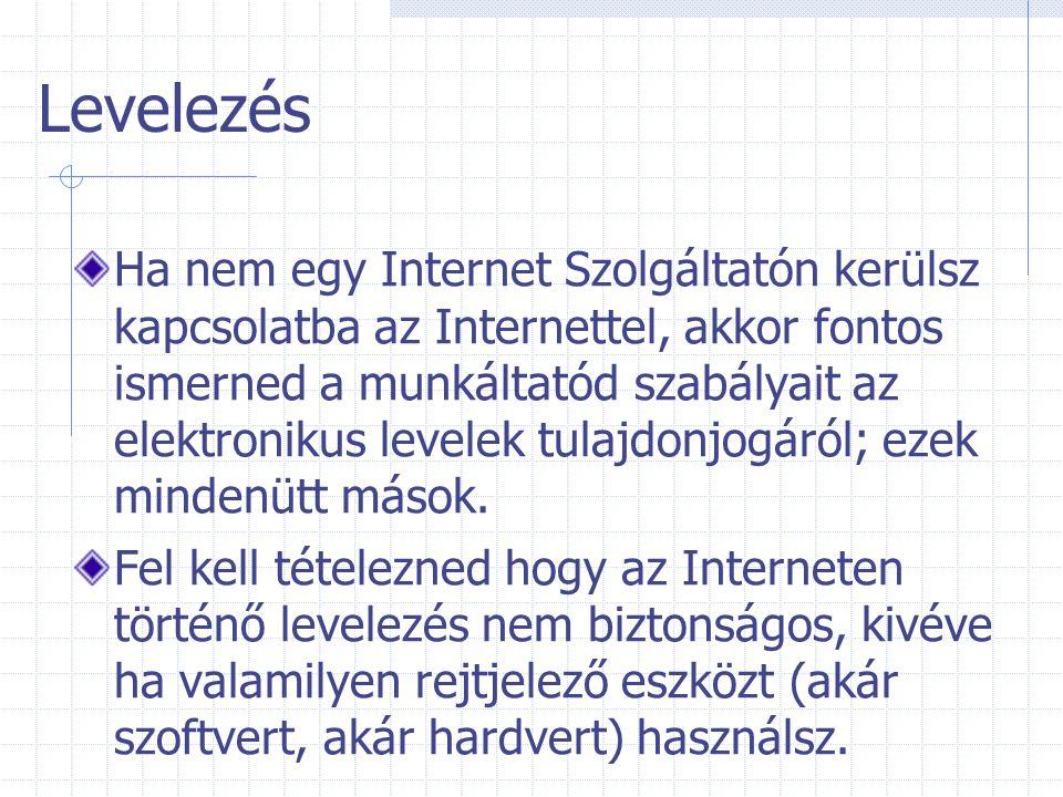Levelezés Ha nem egy Internet Szolgáltatón kerülsz kapcsolatba az Internettel, akkor fontos ismerned a munkáltatód szabályait az elektronikus levelek