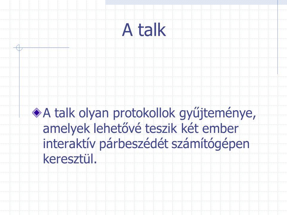 A talk A talk olyan protokollok gyűjteménye, amelyek lehetővé teszik két ember interaktív párbeszédét számítógépen keresztül.