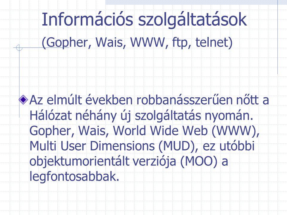Információs szolgáltatások (Gopher, Wais, WWW, ftp, telnet) Az elmúlt években robbanásszerűen nőtt a Hálózat néhány új szolgáltatás nyomán. Gopher, Wa