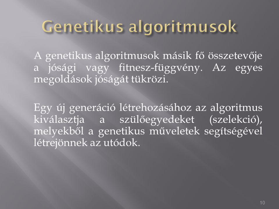 A genetikus algoritmusok másik fő összetevője a jósági vagy fitnesz-függvény. Az egyes megoldások jóságát tükrözi. Egy új generáció létrehozásához az