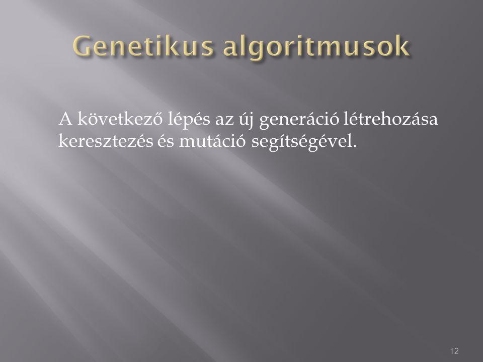 A következő lépés az új generáció létrehozása keresztezés és mutáció segítségével. 12