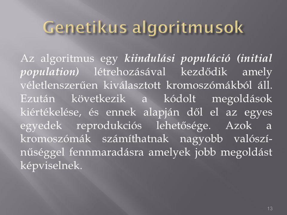 Az algoritmus egy kiindulási populáció (initial population) létrehozásával kezdődik amely véletlenszerűen kiválasztott kromoszómákból áll. Ezután köve